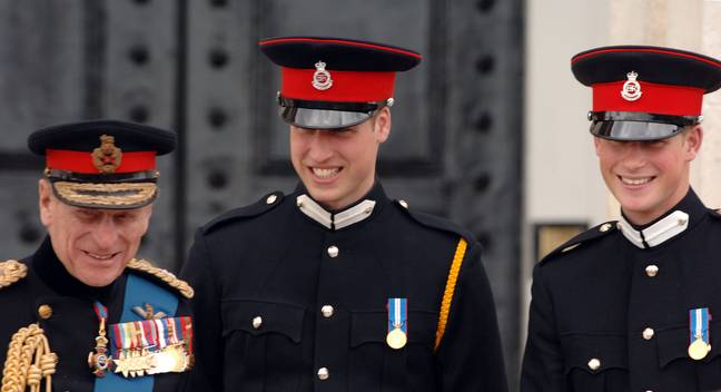 Prince Harry and Prince William with Prince Philip in 2006 (Credit: PA)