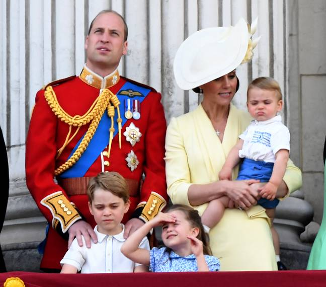 Carole says she is a hands on grandmother for all of her grandchildren. George, Charlotte and Louis are pictured here in 2019 (Credit: PA)