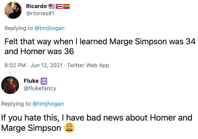 Other Twitter users compared the news to finding out Marge Simpson's real age (Credit: Twitter)