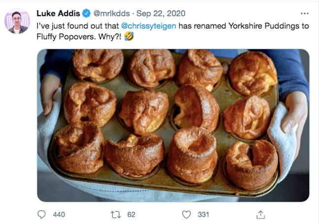 Chrissy's 'fluffy popover' recipe went viral (Credit: Twitter)