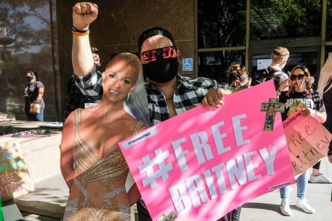 Britney Spears fans protesting in LA in November 2020. (Credit: PA)