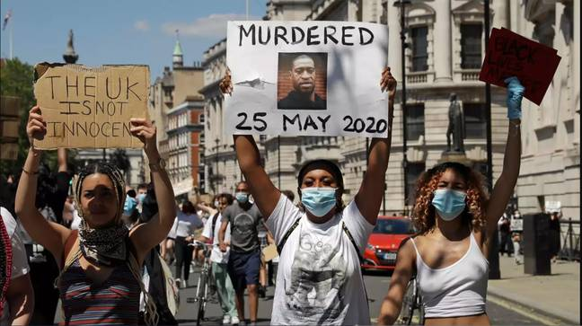 Black Lives Matter protesters in London following George Floyd's death (Credit: PA)