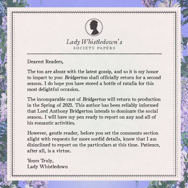 Lady Whistledown hinted at the plot of series 2 in a 'pamphlet' (Credit: Shondaland)
