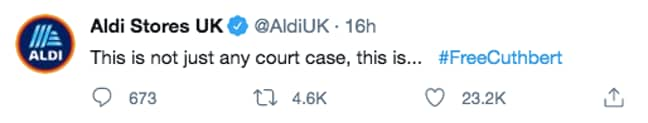 Aldi responded to the drama with this tweet (Credit: Twitter/ AldiUK)