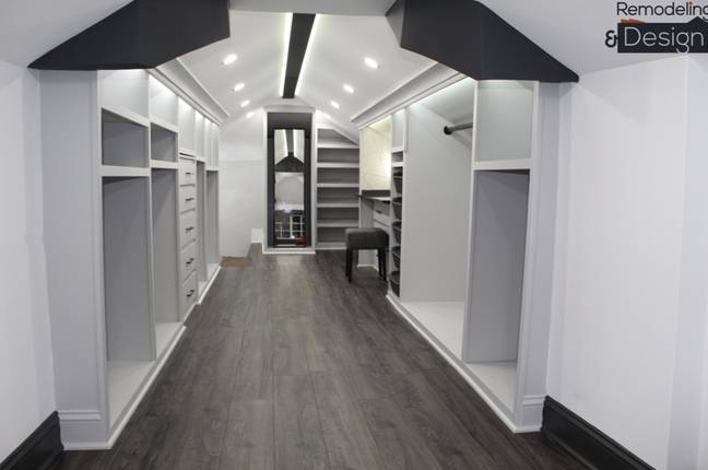 Next he installed the shelves, made out of wooden planks, and painting the entire closet in shades of grey (Credit: Jam Press)