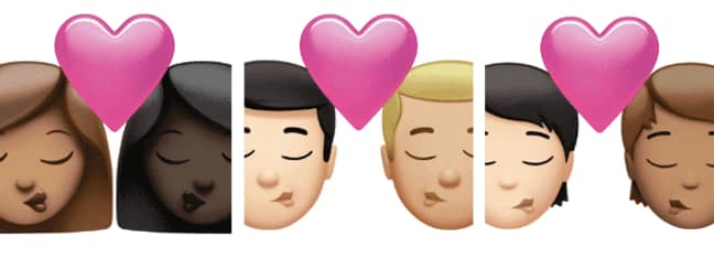 The romantic emojis have become more diverse (Credit: Apple)