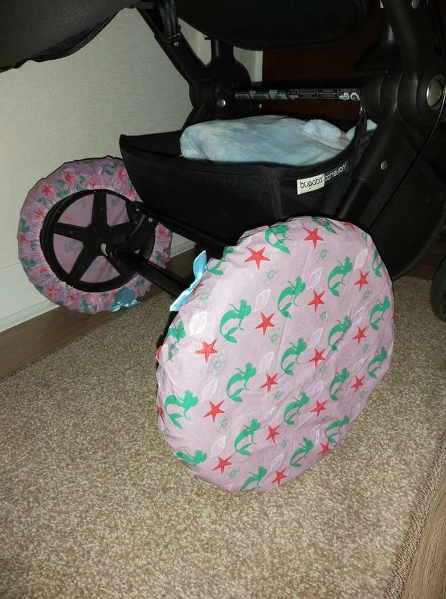 Laura added shower caps onto her pram wheels to stop mud from getting into the house (Credit: Laura Outhart)