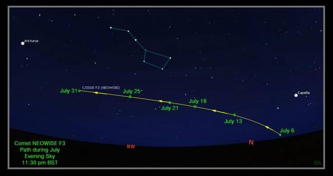 Use the RAS finder chart to spot the comet from different dates from UK latitudes (Credit: Royal Astronomical Society)