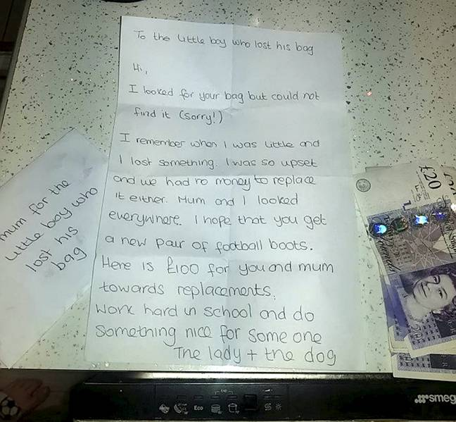 The Good Samaritan had tried to help Ashton find his bag and later went to search for herself before posting the £100 through their letterbox along with a note (Credit: SWNS)