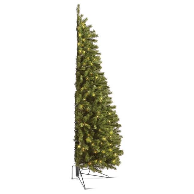 The half trees look a little strange until they're positioned against a wall and styled (Credit: Hammacher Schlemmer)