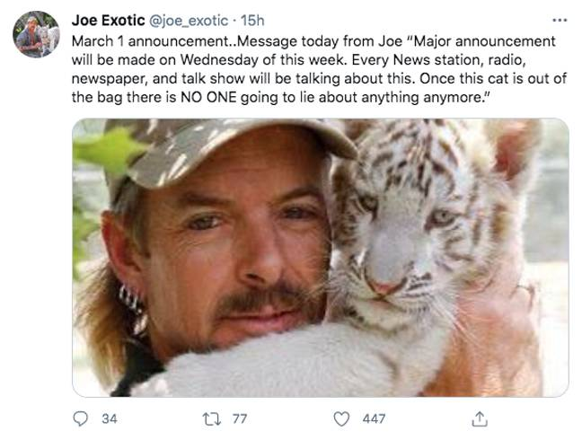 Joe Exotic has teased a major announcement on Twitter (Credit: Twitter - joe_exotic)