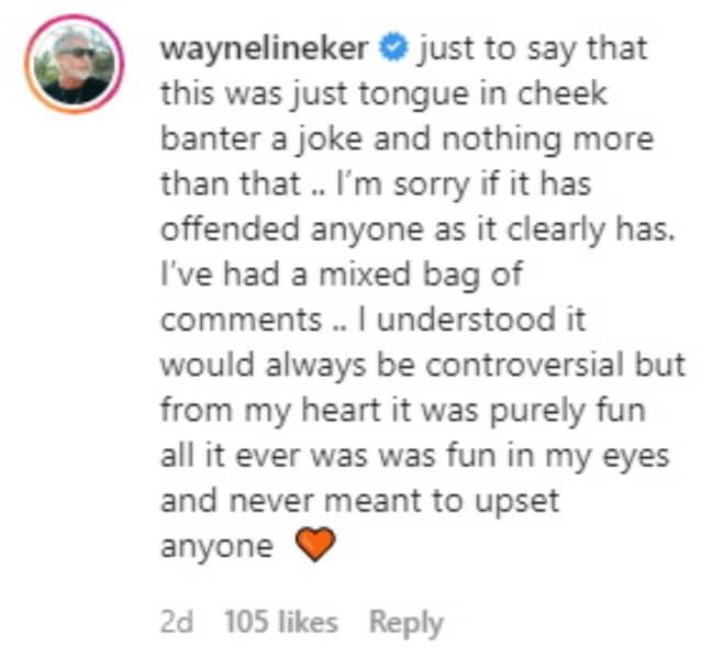 Wayne said his post was 'tongue-in-cheek' (Credit: Kennedy News & Media)