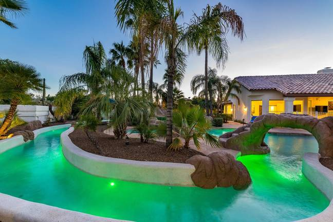 Just *look* at that lazy river (Credit: Rachel/Airbnb)