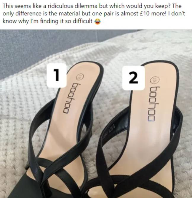 The woman asked for advice over a pair of identical heels (Credit: Facebook)