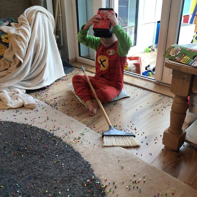 Mum Tracey was left with a *bit* of a mess (Credit: SWNS)