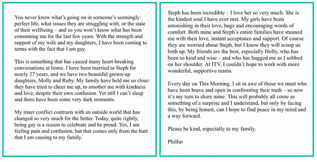 Phillip Schofield released this powerful statement (Credit: This Morning/ Twitter)