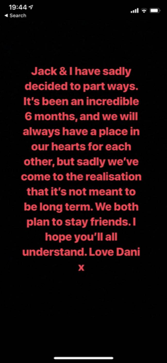 Dani Dyer posted the shocking news on her Instagram story. (Credit: Instagram/Dani Dyer)