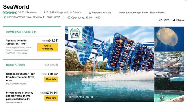 You can currently get tickets to SeaWorld and similar attractions on TripAdvisor Credit: TripAdvisor