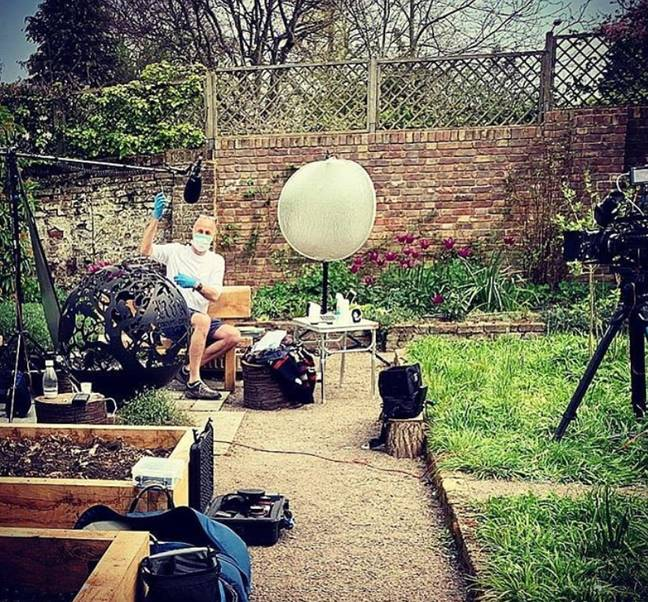 Tom posted an image of the story being filmed in his garden (Credit: Tom Hardy/Instagram)
