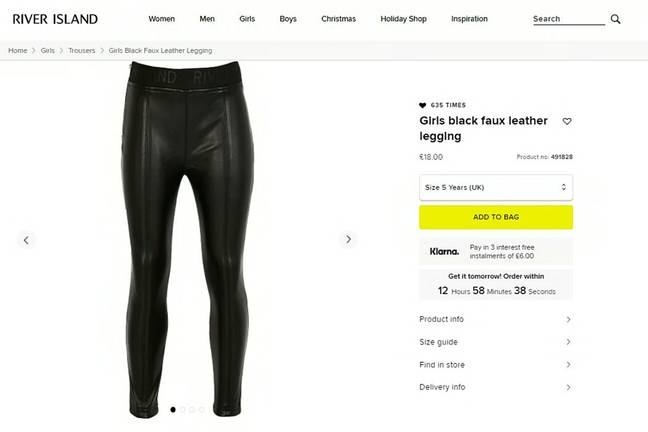 River Island's faux leather trousers are available for children aged 5 to 12 (Credit: SWNS)
