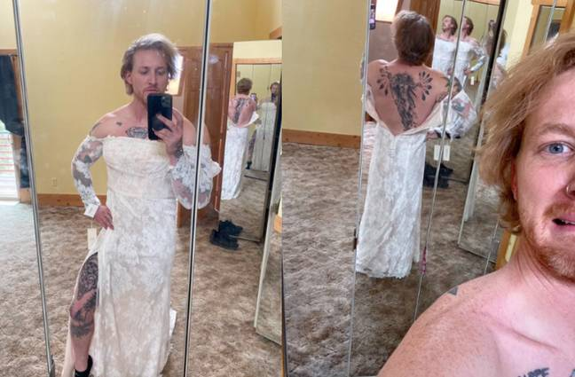 The seller tried a number of poses in the dress (Credit: TikTok/@tacobellchipotle)