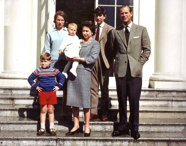The Queen (centre) with her family Prince Andrew, Princess Anne, Prince Edward, the Prince of Wales and the Duke of Edinburgh on the Queen's 39th birthday (Credit: PA)