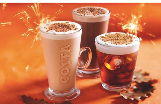 Costa is offering a selection of hot drinks from Bonfire Spiced Latte to Bonfire Spiced Hot Chocolate Credit: Costa