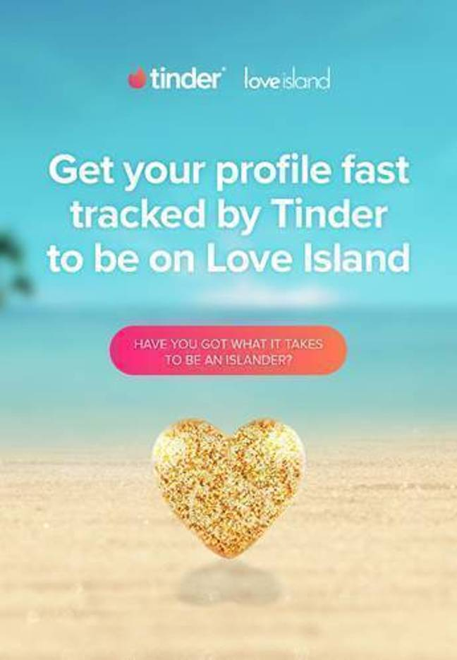 When you spot a swipe card like this swipe right if you want to be in with a chance of becoming an islander (Credit: Tinder/Love Island)