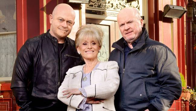 Dame Barbara with her former EastEnders co-stars, Ross Kemp and Steve McFadden (Credit: BBC)
