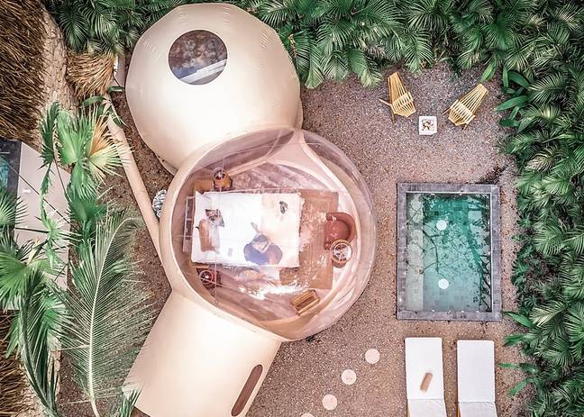 An aerial view of the luxury lodges (Credit: Satori Bubbles)
