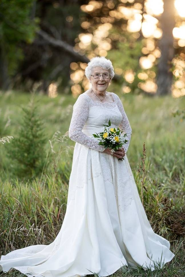 Lucille's dress has 52 buttons on the sleeves and up the back (Credit: Kate Autry Photography)