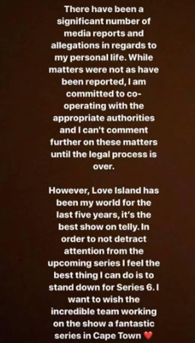 Caroline announced she was stepping down on Instagram (Credit: Caroline Flack/Instagram)
