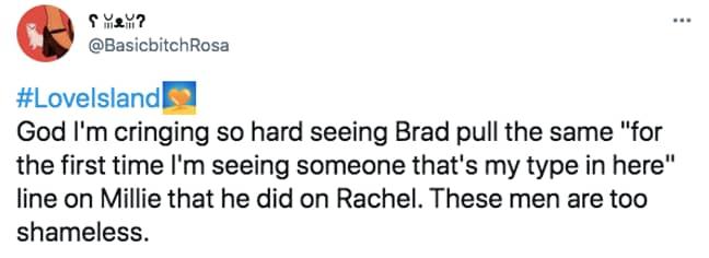 Brad's lines left people cringeing (Credit: Twitter)