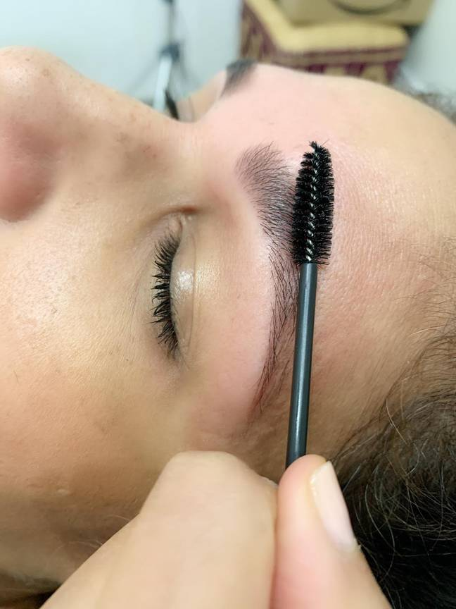 Before applying the tint, brush your brows in an upward motion (Credit: Brows By Suman)