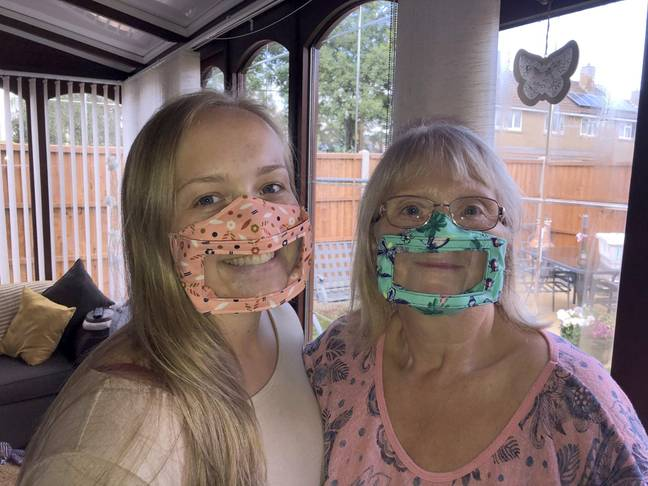 Julie, right, invented the clever face masks to help the hard of hearing (Credit: Caters)