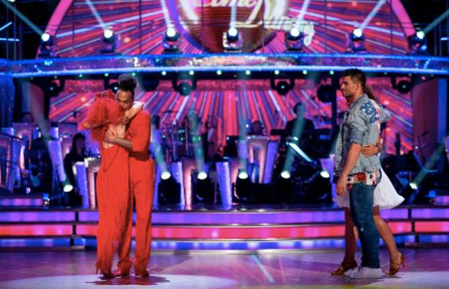 Dev Griffin and Dianne Buswell were eliminated when fighting against Viscountess Emma Weymouth and Aljaz Skorjanec Credit: BBC