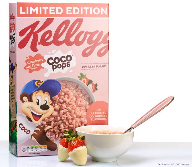 The crispy cereal combines creamy white chocolate with juicy strawberries (Credit: Kellogg's)