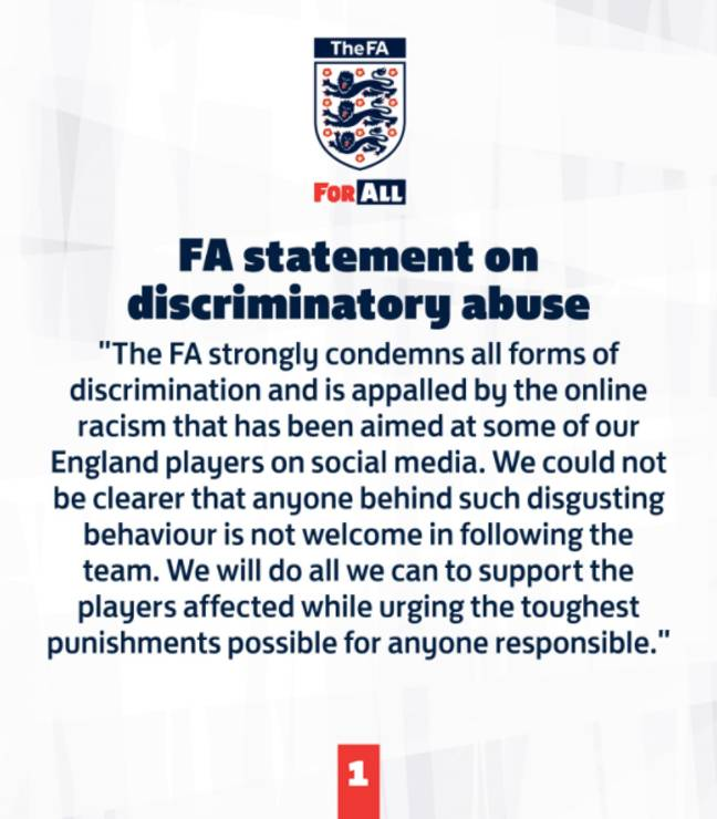 The FA condemned the attacks (Credit: Twitter/FA)