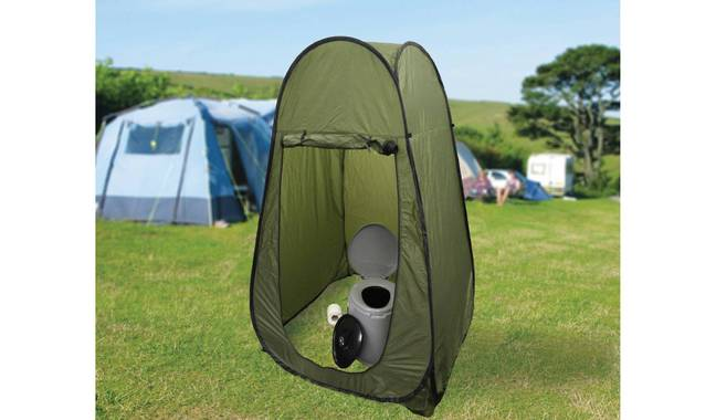 eisurewize Need A Loo Excel Portable Camping Toilet, £24.99, pictured inside a pop-up tent. Credit: Argos