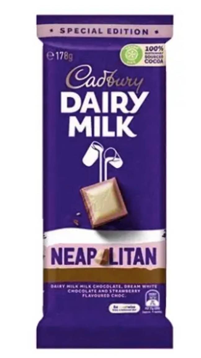 The Dairy Milk Neapolitan is made up of delicious milk, white and strawberry flavoured chocolate (Credit: Cadbury)