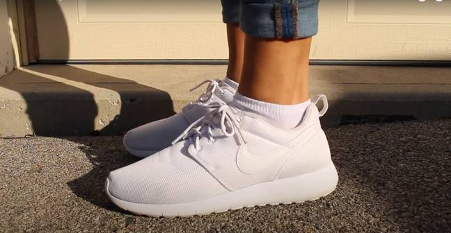 Faith leaves her trainers to air dry outside for 24 hours - the results are incredible! (Credit: YouTube / Faith Chappelle)