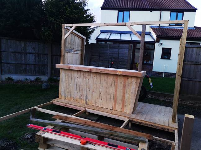 Natalie and Kelvin used pallets and old decking (Credit: Natalie Heaton/Extreme Couponing And Bargains Group UK)