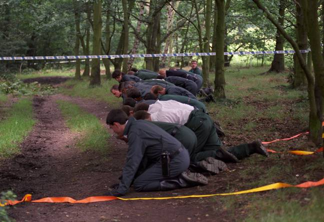 Police searching the area where Rachel was killed in 1992 (Credit: PA)