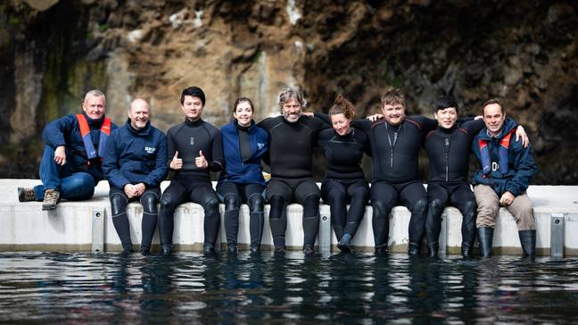 The team behind the Beluga Whale Sanctuary (Credit: PA)
