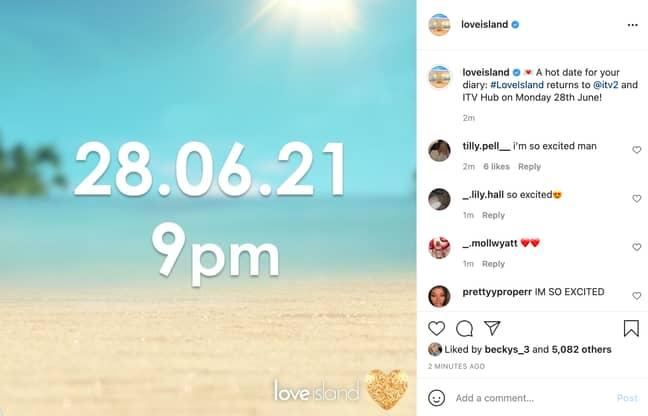 Love Island start date confirmed (Credit: Instagram/loveisland)