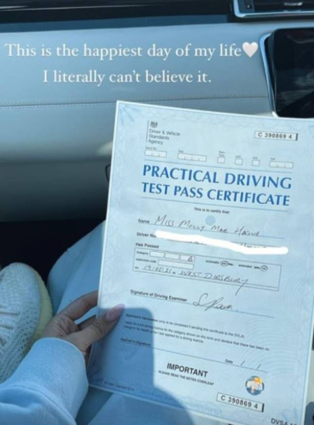 Mollie-Mae passed her test earlier this year (Credit: Instagram)