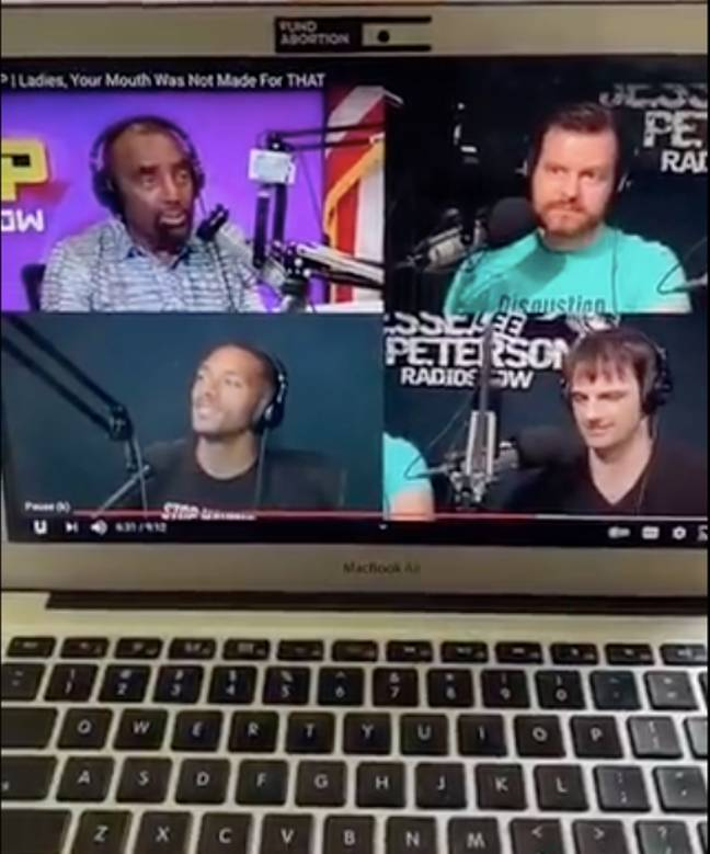 The four men believe a woman orgasming 'becomes a man' (Credit: TikTok - abortionaccessfront)