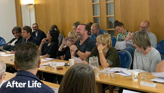 After Life posted a photo from a series two read-through, with all the cast in hysterics (Credit: Netflix)
