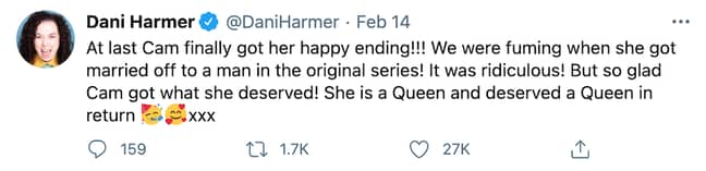 Tracy Beaker star Dani Harmer also celebrated Cam and Mary's wedding on Twitter (Credit: Twitter)