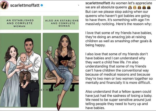 Scarlett Moffatt shared a powerful statement on Instagram last month (Credit: Scarlett Moffatt-Instagram)